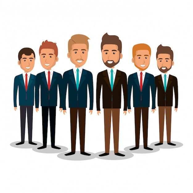 Groupe de travail d'équipe illustration d'hommes d'affaires Vecteur gratuit