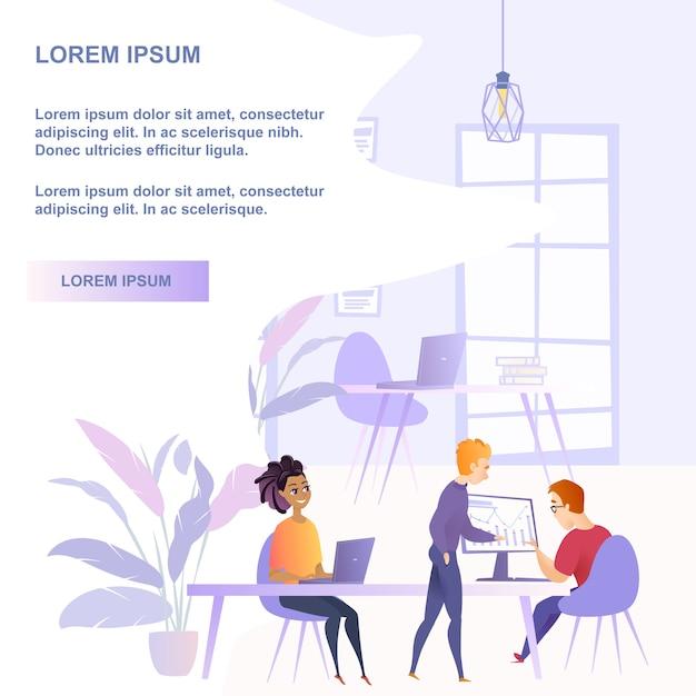 Groupe de travail d'équipe illustration plat personnes au bureau Vecteur Premium