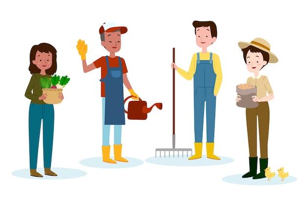 Groupe De Travailleurs Agricoles Illustrés Vecteur gratuit