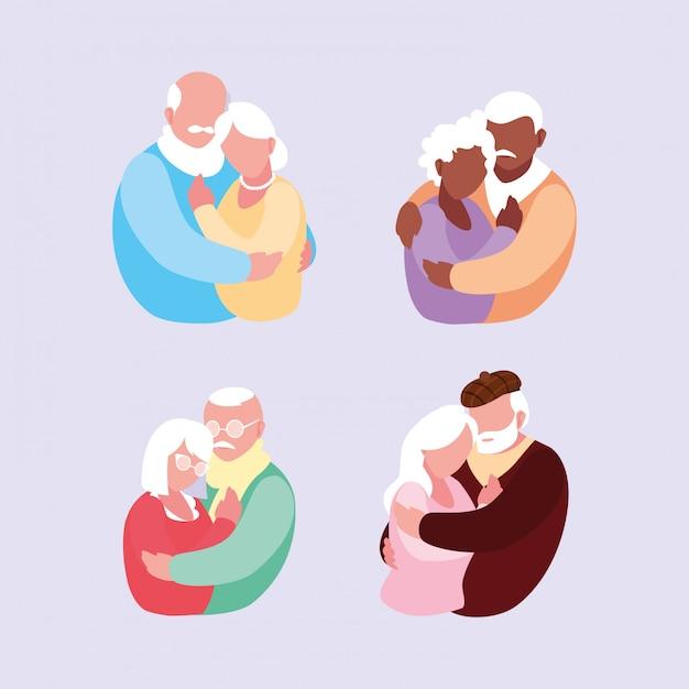 Groupe de vieux couples enlacés Vecteur Premium