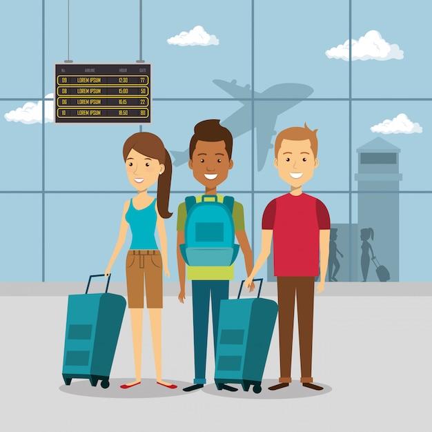 Groupe de voyageurs à l'aéroport Vecteur gratuit