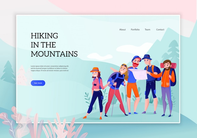 Groupe De Voyageurs Lors De Randonnées En Montagne Concept De Bannière Web Sur La Nature Vecteur gratuit
