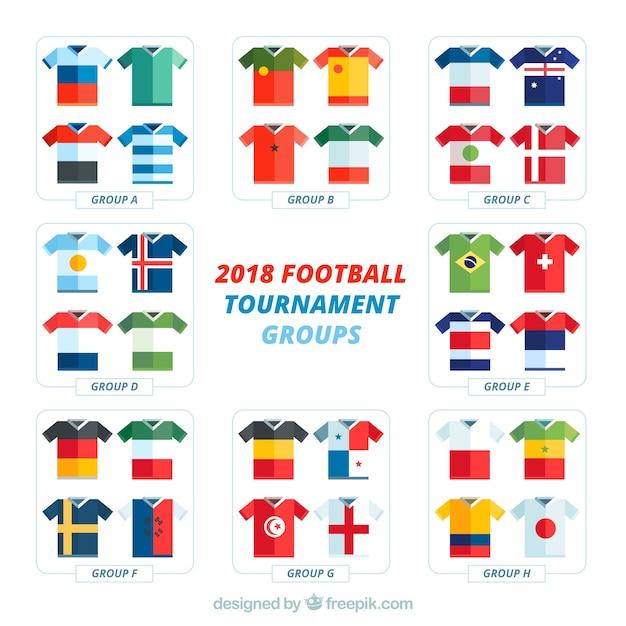 Groupes de championnat du monde de football avec différents drapeaux Vecteur gratuit