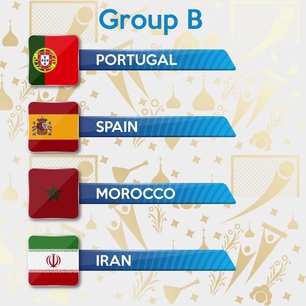 Groupes de championnats du monde de football Vecteur Premium