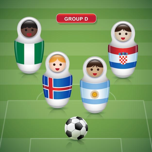 Groupes d de la coupe de football 2018 Vecteur Premium