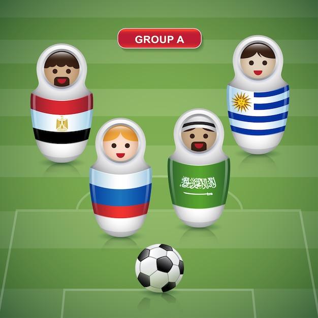 Groupes a de la coupe de football 2018 Vecteur Premium