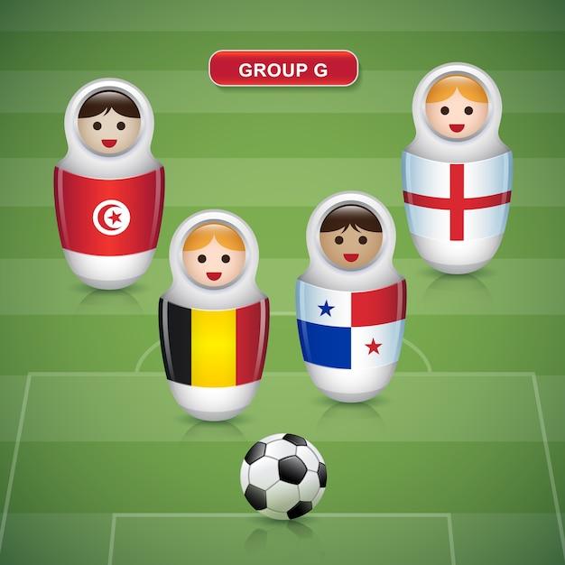 Groupes g de coupe de football 2018 Vecteur Premium