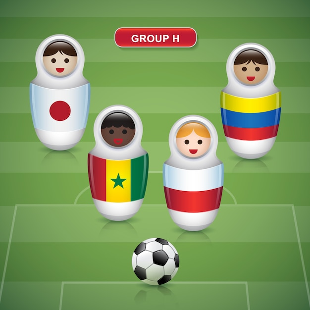 Groupes h de la coupe de football 2018 Vecteur Premium