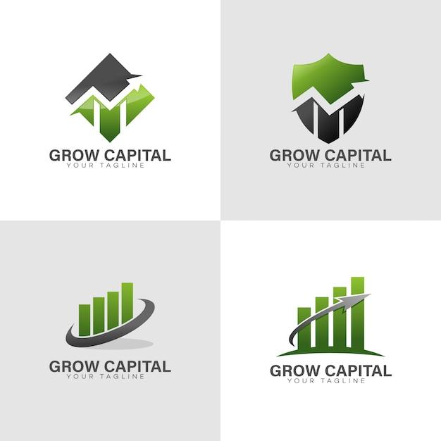 Grow finance logo Vecteur Premium