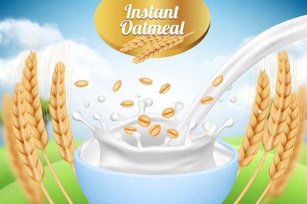 Gruau. Modèle De Plaque Publicitaire Avec Lait Et Blé Aliments Biologiques Sains Produits De Ferme Emballage Modèle De Fond Réaliste Vecteur Premium