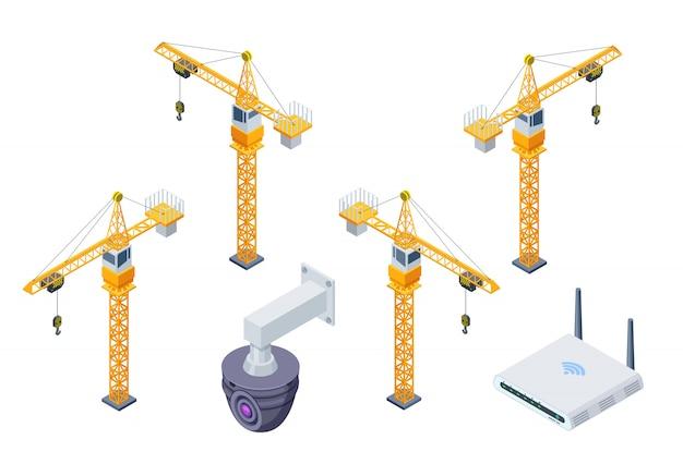 Grue à tour de construction, surveillance de sécurité Vecteur Premium