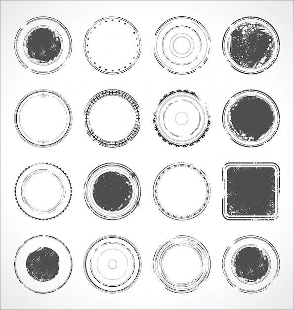 Grunge rond papier autocollants vector noir et blanc Vecteur Premium