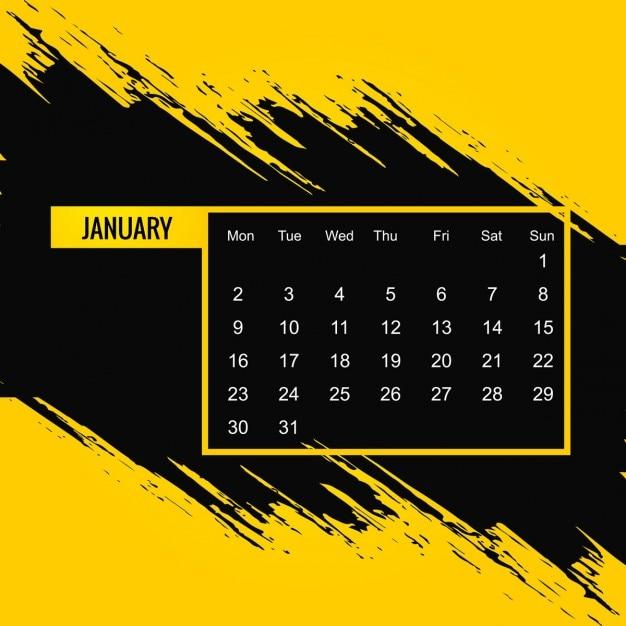 Grungy 2017 calendrier janvier t l charger des vecteurs gratuitement - Date des soldes de janvier 2017 ...