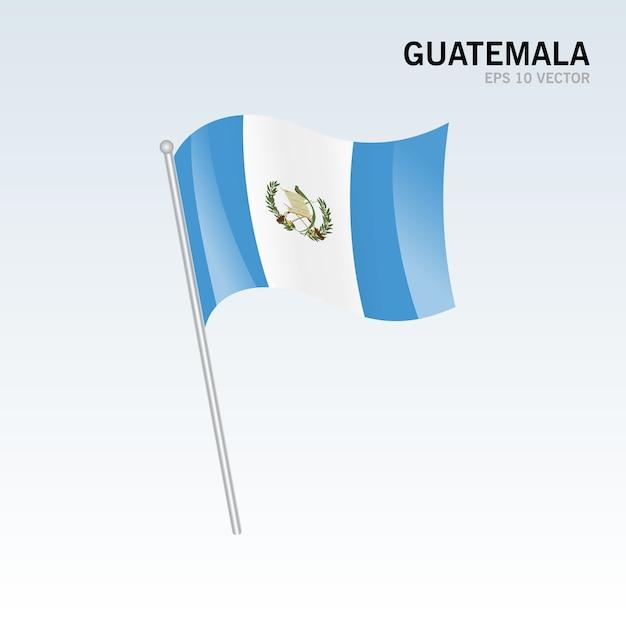 Guatemala agitant le drapeau isolé sur fond gris Vecteur Premium