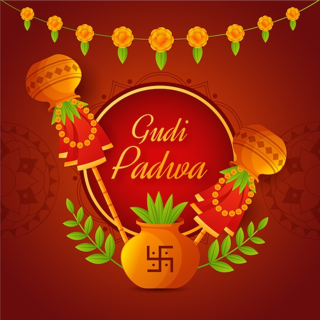 Gudi Padwa Au Design Plat Vecteur gratuit