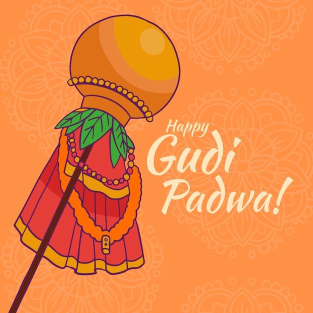 Gudi Padwa Dessiné à La Main Vecteur gratuit
