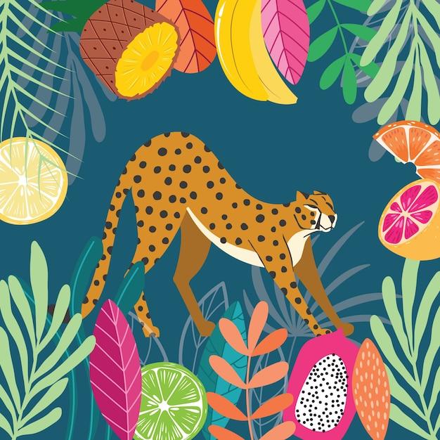 Guépard Exotique Mignon Gros Chat Sauvage Qui S'étend Sur Fond Tropical Sombre Avec Collection De Plantes Et De Fruits Exotiques. Illustration Plate Vecteur Premium
