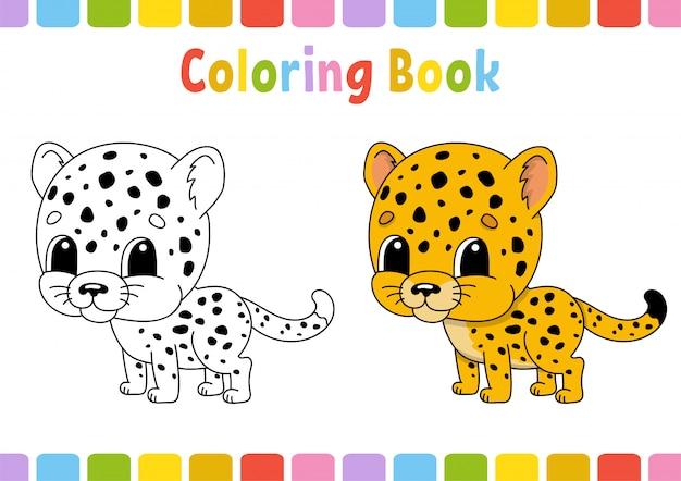 Guépard. Livre De Coloriage Pour Les Enfants. Caractère Gai. Illustration. Vecteur Premium