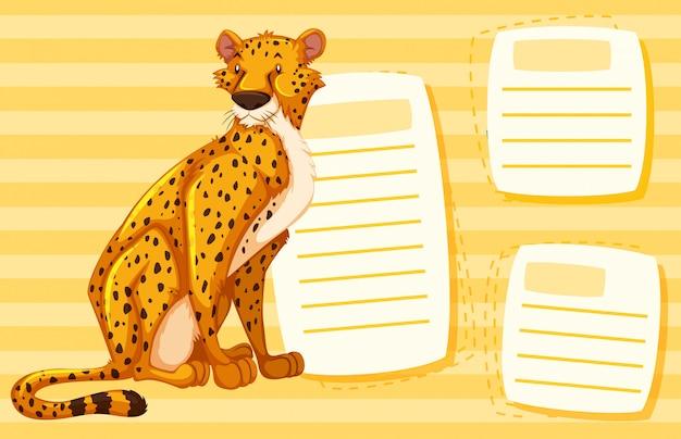 Un guépard sur une note vide Vecteur gratuit