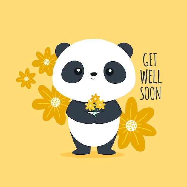 Guérissez Bientôt Avec Un Mignon Petit Panda Vecteur gratuit