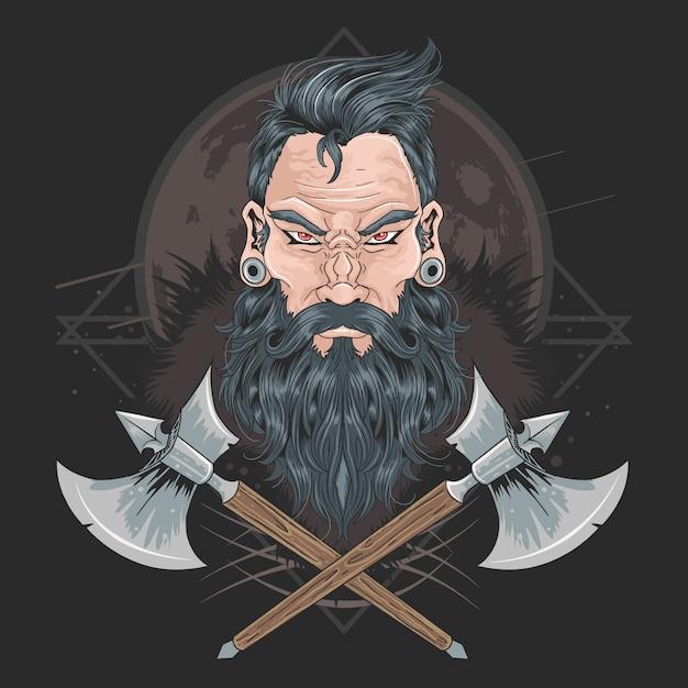 Guerrier barbe hommes piercing Vecteur Premium