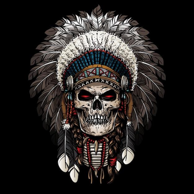 Guerrier du crâne indien Vecteur Premium