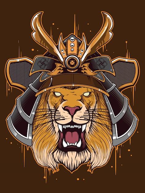Guerrier du japon à tête de lion Vecteur Premium