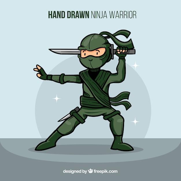 Guerrier Ninja Créative Dessinés à La Main Vecteur gratuit