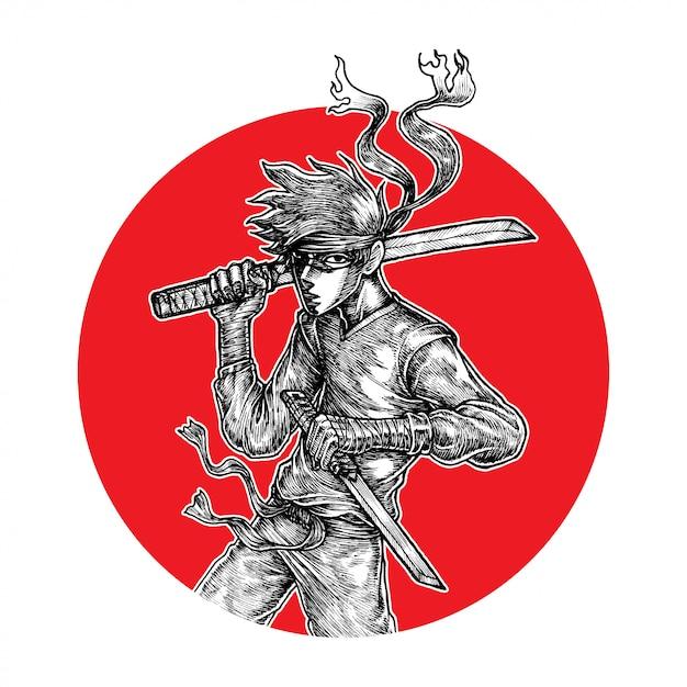 Guerrier ninja Vecteur Premium