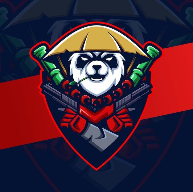 Guerrier Panda Avec Des Armes à Feu Mascotte Esport Logo Vecteur Premium