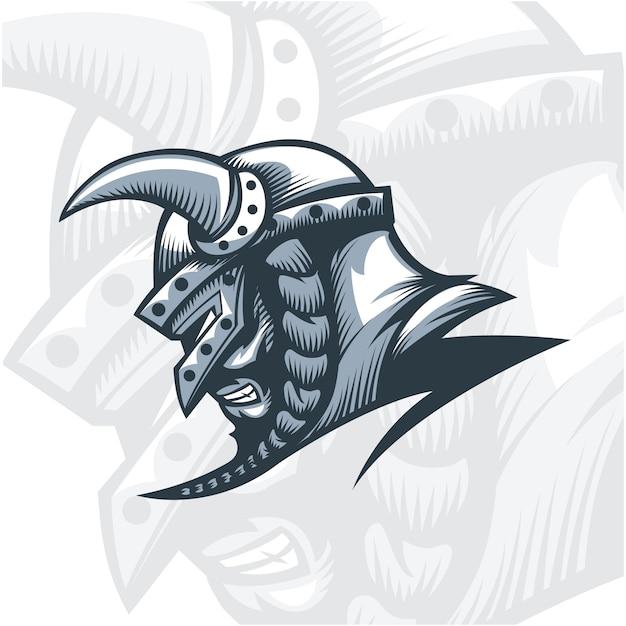 Guerrier viking monochrome. Vecteur Premium