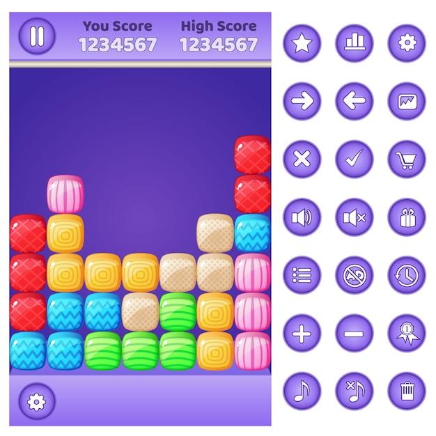 Gui jeu match 3 bloc de puzzle et boutons Vecteur Premium