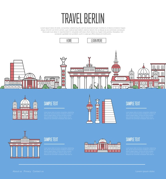 Guide de vacances de la ville de berlin Vecteur Premium