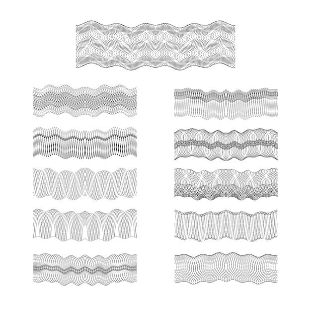 Guilloche vecteur bordures définir la texture motif de gravure argent Vecteur Premium
