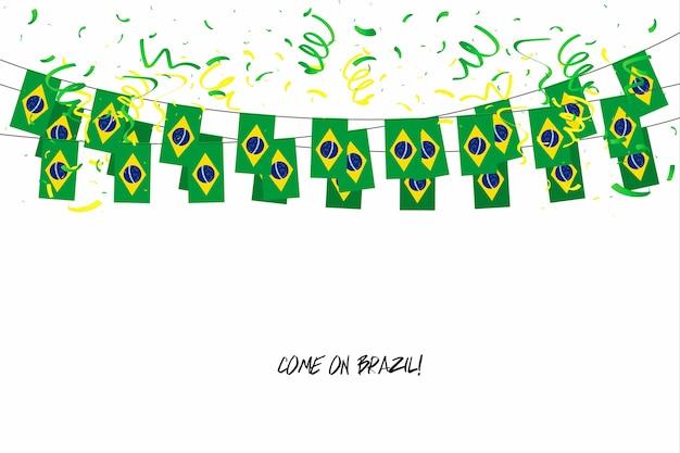 Guirlande de drapeaux du brésil avec des confettis sur fond blanc. Vecteur Premium