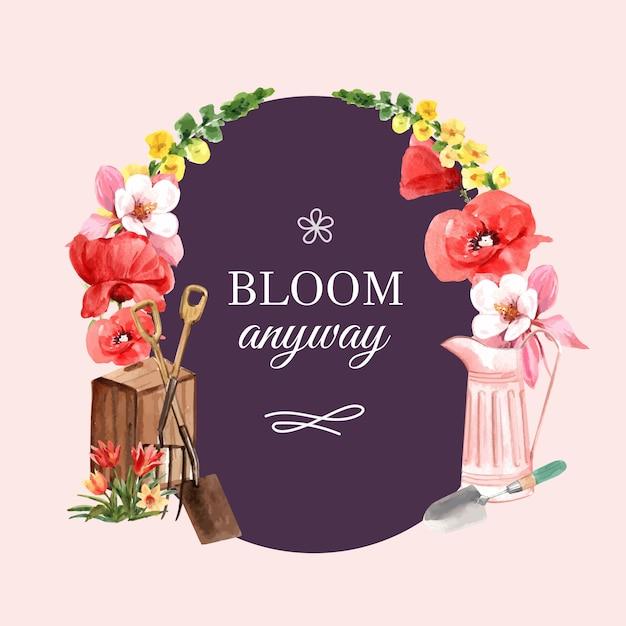 Guirlande De Fleurs Jardin Avec Coquelicot, Tulipe, Illustration Aquarelle Fleur Columbine. Vecteur gratuit