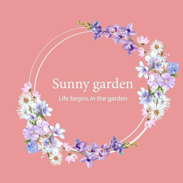 Guirlande De Fleurs Avec Marguerite, Vinca, Orchidée, Illustration Aquarelle De Dianthus. Vecteur gratuit