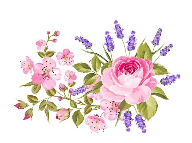 Guirlande de fleurs de printemps. Vecteur Premium