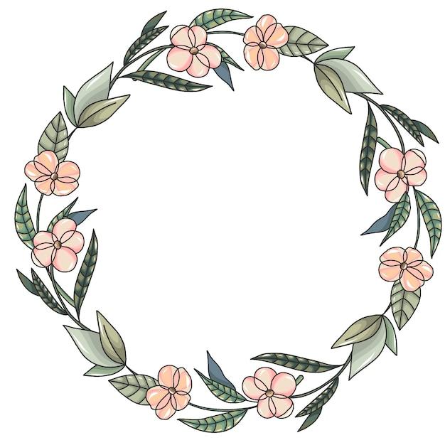 Guirlande à fleurs roses et feuilles vertes Vecteur Premium