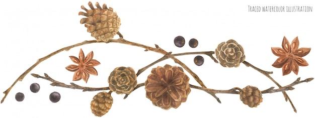 Guirlande de forêt avec des cônes et des branches Vecteur Premium