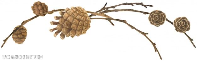 Guirlande de forêt sèche avec des cônes et des branches Vecteur Premium