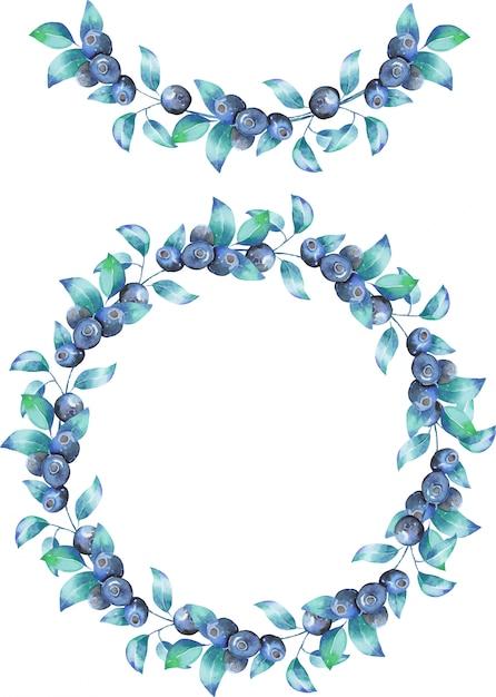 Guirlande et guirlande des branches de myrtille aquarelle Vecteur Premium
