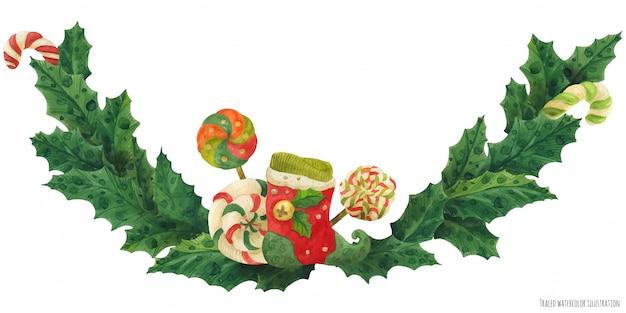 Guirlande De Houx De Noël Avec Bas Et Sucettes Vecteur Premium