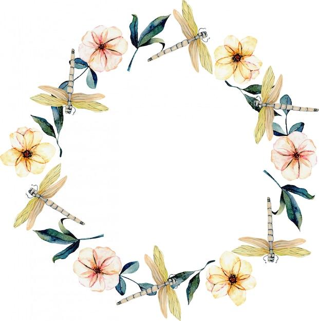Guirlande de libellules tendres à l'aquarelle, fleurs roses Vecteur Premium