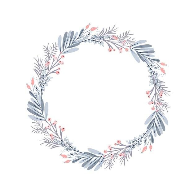 Guirlande De Noël Et Baies Rouges Sur Des Branches à Feuilles Persistantes Vecteur Premium