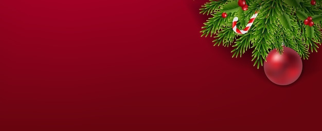 Guirlande De Noël Avec Des Boules De Noël Sur Fond Rouge Vecteur Premium