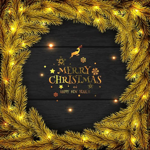 Guirlande De Noël Doré Sur Carte De Voeux En Bois Sombre. Vecteur Premium
