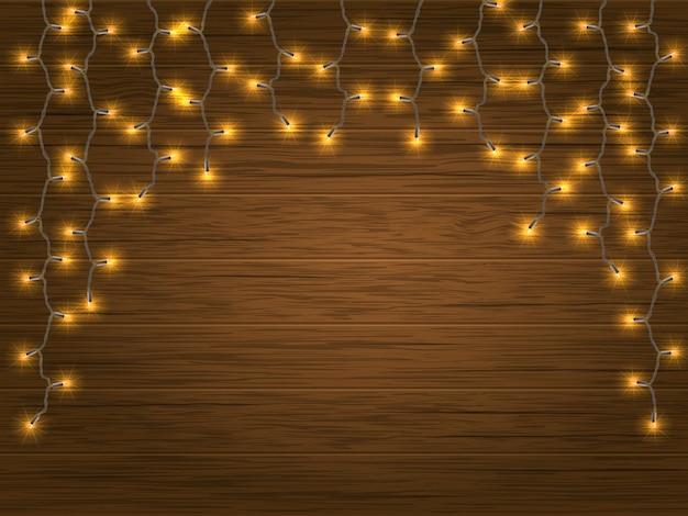 Guirlande de noël lumière led jaune Vecteur Premium