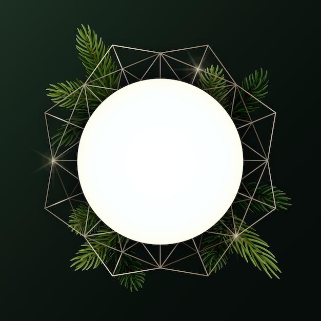 Guirlande De Noël Ronde Avec Des Branches De Sapin Et Une Forme Géométrique. Cercle Avec Fond. Vecteur Premium