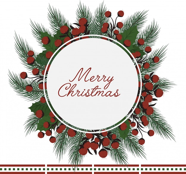 Guirlande De Noël Vecteur gratuit